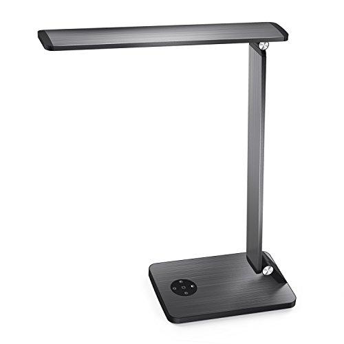 MoKo Lampada Tavolo, Lampada Scrivania, Lampada Ufficio in Alluminio con Porta USB, 5 modalità 6 Livelli Luce, Controllo da Tocco, Memoria 3 min, Lampada LED 10 W per Lettura, iPhone,Grigio Scuro
