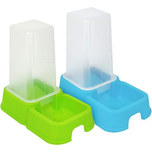 Dispensador de comida y agua en color gris. El contenedor transparente se puede usar para agua y alimentos secos y permite un fácil control de nivel.  El tazón tiene pequeños pies de goma y, por lo tanto, una base firme y es antideslizante.   ¡Apto p...
