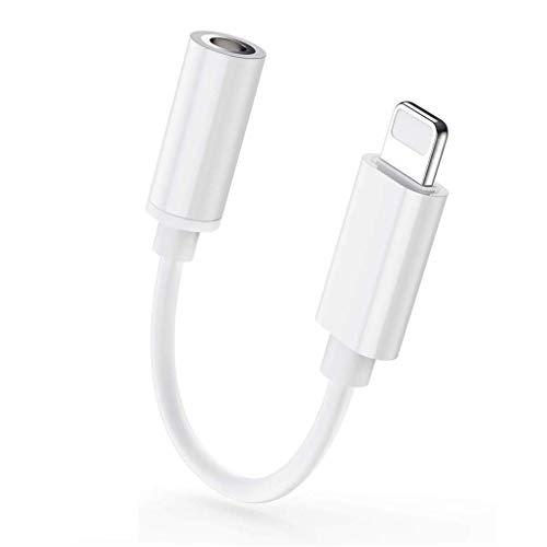 SZJMSR Adaptador de Auriculares para iPhone 7//8 Plus//X//XS//XR//11 Adaptador de Dual AUX y Cable Adaptador de para iPhone Convertidor de Audio Soporte de Control de Volumen del tel/éfono Todo iOS Blanco