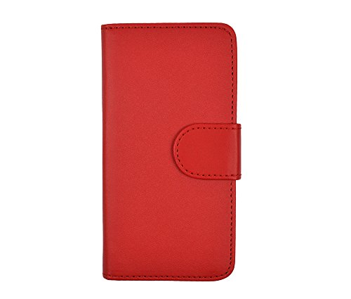 gada - Handyhülle für Apple iPhone 5S 5 5G - Schicke Leder-Imitat Tasche Flipcase Wallet mit Magnetverschluss und Standfunktion - Rot Rot