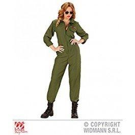 falksson Jet-Pilotin Damenkostüm Khaki L (Top Gun Kostüm Damen Overall)
