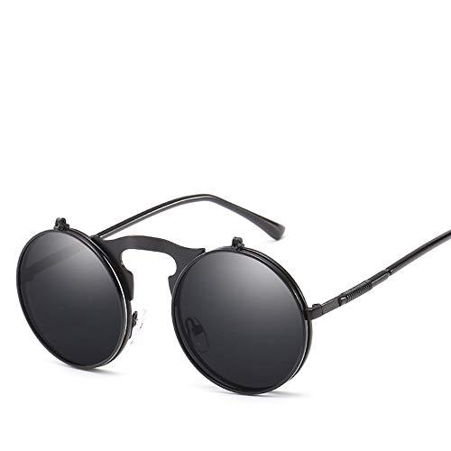 JIA-Sunglass Schattierung Vintage Retro Sonnenbrille Polarized Light Metal Full Frame Universal Sonnenschutz UV400 TAC Sonnenbrille (Color : Black+Gray) -