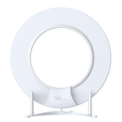 1byone Omni-Directionale Papierdünne Digitale Zimmerantenne mit Halterung und 3 Meter Koaxial Kabel, DVB-T/DVB-T2 Antenne Mit Eingebautem 4G LTE Filter, Ausgezeichneter Empfangsqualität für HDTV über digitale und analoge Signale (VHF, UHF, FM)-Weiß/Schwarz