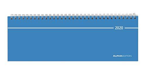 Tisch-Querkalender blau 2020 - Bürokalender - Tischkalender (28,5 x 10) - 1 Woche 2 Seiten - Ringbindung - Terminplaner