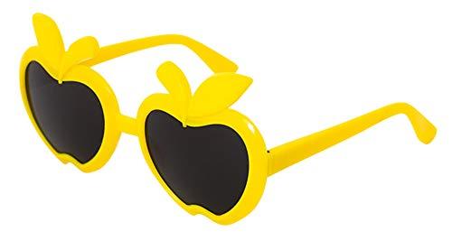 Binse Sonnenbrillen Baby UV-Schutz Brille mit Beweglich Brillenglas Kinderbrille Apfel-Form (Gelb)