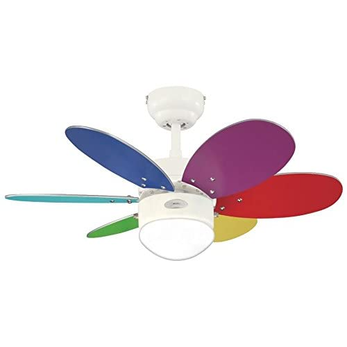 31A7bV3zIcL. SS500  - Westinghouse Ceiling Fans 78673 Turbo II One-Light 76 cm Six-Blade Indoor Ceiling Fan, White Finish with Opal Frosted…