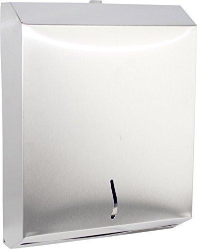 acero inox. Dispensador de pañuelos de papel Toallero con Dispositivo de bloqueo para Plegado Z Servilleta de papel con una Ancho de 8 cm Medi-Inn - 400 Blatt (33 x 26 x 8,5 cm)