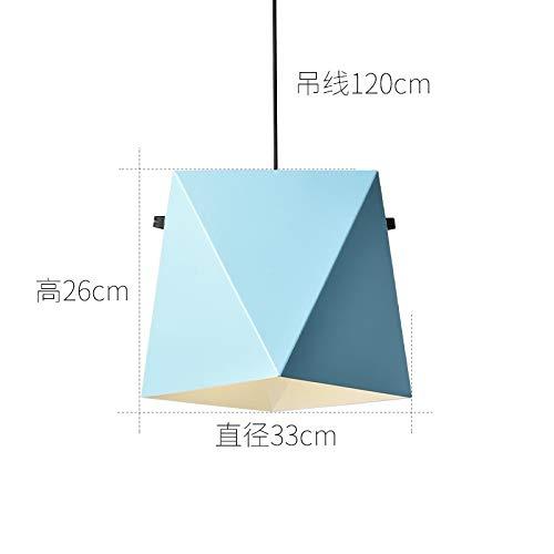 Lámpara creativa de hierro forjado LED, diámetro de la lámpara de 33 cm, azul con luz de dos colores y bombilla de 7 vatios.