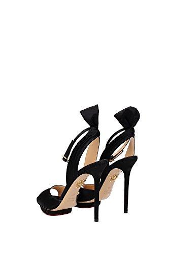 C164626SSA0001 Charlotte Olympia Sandale Femme Satin Noir Noir