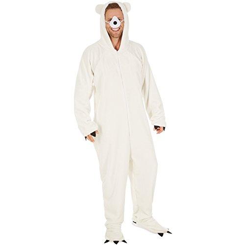 Kostüm Eisbär für Sie und Ihn | Aus flauschigem Plüschstoff | Vorne mit praktischem Reißverschluss | inkl. Nase mit Gummiband (L | Nr. 300873) (Einfache Gruppe Halloween Kostüme 2017)