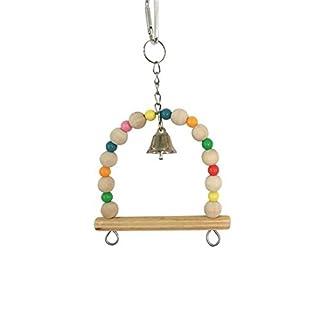 hifuture Kauen Bite Spielzeug Holz Mehrfarbig Bead Bell Swing Ständer Klettern Leiter Birds Training Toy mit Aufhängen Haken Vogelkäfig Anhänger Haustier Zubehör für Große Mittel- und kleine Vögel