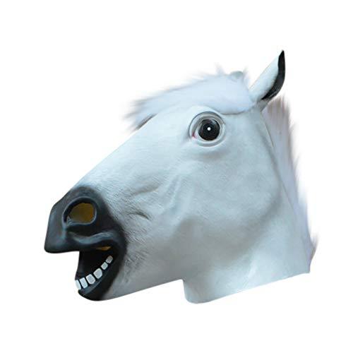 Omiky Gruselige Pferdekopf-Latexmasken-Gesichtsgummimaske für Halloween-Festival Halloween Latexmaske Pferdekopfmaske (White Horse - White Horse Head Kostüm
