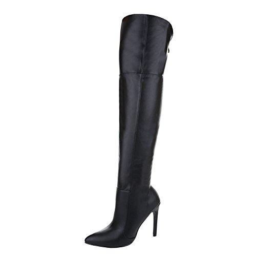 Overknee Stiefel Damen-Schuhe Klassischer Stiefel Pfennig-/Stilettoabsatz High Heels Reißverschluss Ital-Design Stiefel Schwarz, Gr 35, El15655-8-