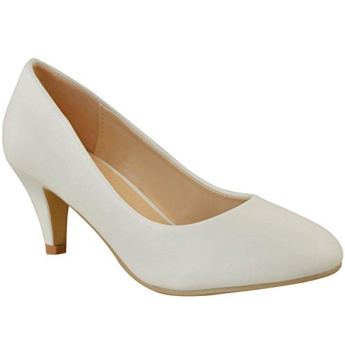 Escarpins à petits talons - confortable - pour travail/bureau/mariage - femme - faux cuir blanc/mariée - EUR 37