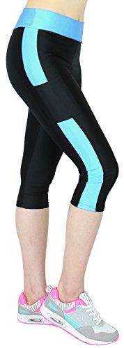 Caprihose Damen 3/4 Fitness Leggings mit Tasche