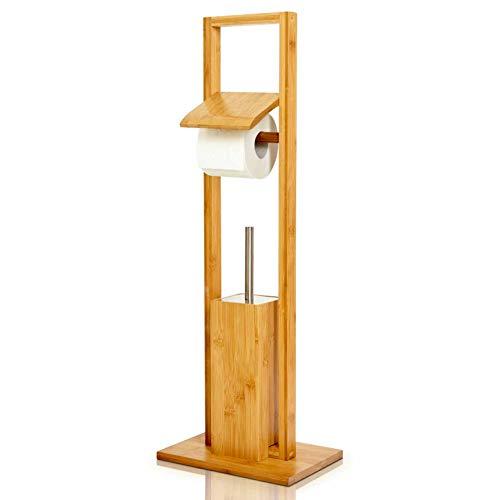 bambuswald© WC Garnitur aus 100% Bambus ca. 82 x 36 x 21 cm - freihstehende Standgarnitur mit Toilettenbürste und Klorollenhalter, Toilettenpapierhalter | ökologisch & nachhaltig