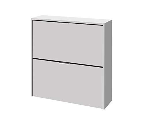 Habitdesign 007873O - Zapatero 2 puertas, zapatero estrecho acabado en color Blanco, dimensiones: 76 x 75 x 22 cm de fondo.