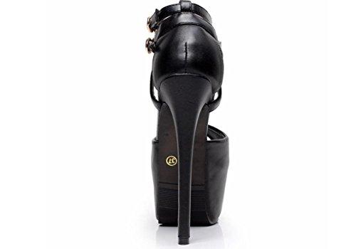 YCMDM Femmes Mode Ultra-Haute Talons Étanche Boucle Sangle Sandales Creux Black