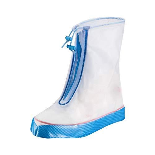 TianBin Neutral Männer und Frauen Regenüberschuhe Wasserdicht Schuhüberzieher Regenstiefel Rutschfest Schuhe Abdeckung (Weiß Himmel Blau#1, Asia M)