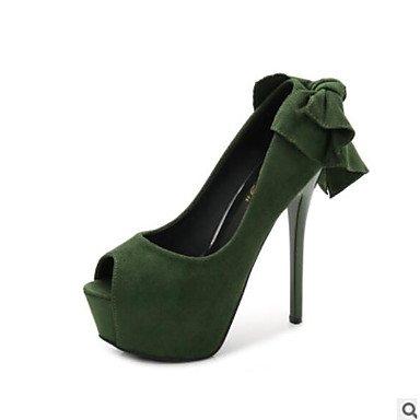 Sanmulyh Zapatos De Mujer Pu Summer Comfort Tacones Stiletto Heel Peep Toe Open Toe Para Casual Verde Gris Negro Verde