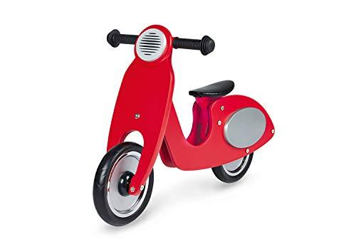 Pinolino Laufrad Vespa Wanda, Laufrad Holz, unplattbare Bereifung, Sattel 3-fach höhenverstellbar, für Kinder von 3 - 5 Jahren, rot