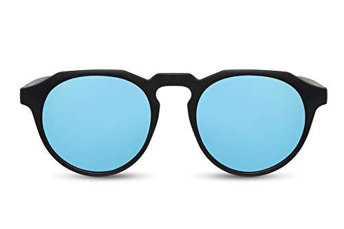 Cheapass Sunglasses Sonnenbrille Beliebt Matt Schwarz Runder Stil mit flachem Oberrand und blau verspiegelten Gläsern Männer Frauen
