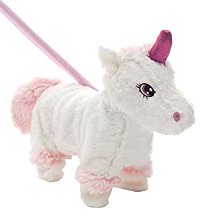 TRIXES Walking Musical Christmas Plush Unicorn Toy with Lead - Wiggles and Dances - Soft Cute and Cuddly Xmas Gift - 28cm