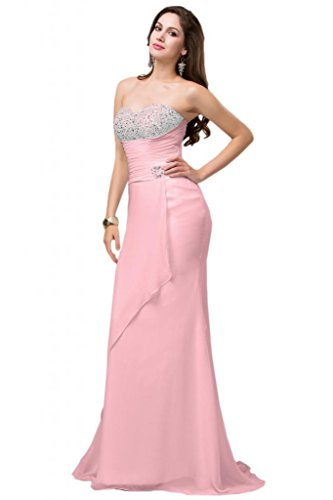 Sunvary Elegant Traegerlos Chiffon Lang Perlen Fischform Abendkleid Ballkleider Rosa
