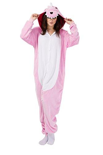 Rosa Dinosaurier Schlafanzug Kostüm Erwachsene Anime Unisex Kigurumi Pyjamas Kostüme Karneval Cosplay Jumpsuit (Rosa Kostüme Dinosaurier)