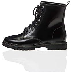 find. Lace Up Leather Botas Estilo Motero, Negro Black, 37 EU