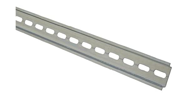 Length 1M 35X7.5mm for Use with DIN Rail Mountable Components Slotted Top Hat 1M DIN Rail Slotted Top Hat DIN Rail