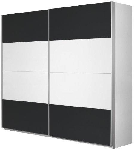 Rauch Schwebetürenschrank Weiß Alpin 2-türig , Absetzung Grau Metallic Nachbildung, BxHxT 136x210x62 cm