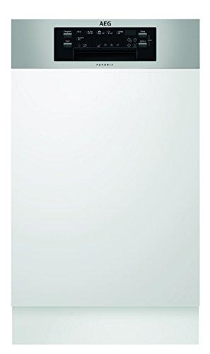 AEG FEE62400PM Geschirrspüler (teilintegriert) / 45 cm Spülmaschine mit Beladungserkennung und Timer / Energieklasse A+++ (197 kWh pro Jahr) / Einbaugeschirrspüler mit Softspikes / AirDry-Funktion / silber & weiß