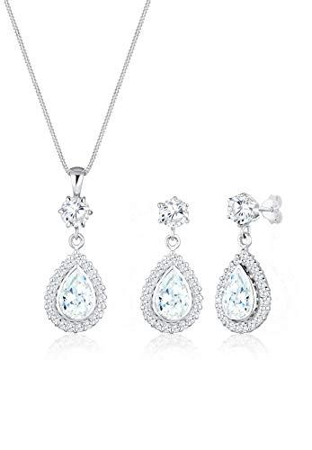 Elli Damen-Halskette + Ohrringe Tropfen 925 Sterling Silber Zirkonia 45 cm 0907720516_45