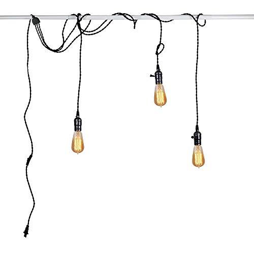 JYXZ 3 Licht Deckenleuchten mit 5M Kabel mit Schalter und Stecker Kronleuchter Schlafzimmer Wohnzimmer Küche Esszimmer Loft Balkon Hänge Pendelleuchten