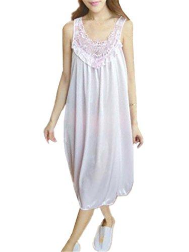 AILIENT Pigiama per Donna Abito da Notte Senza Maniche Camicia da Notte Donna Morbida Pigiama Pigiami in Raso Comoda White