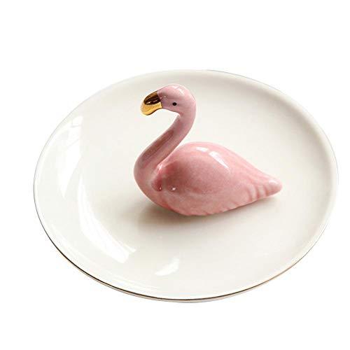 Décoration de plaque de bijoux European Flamingo Home Plateau en céramique Anneau Plateau de stockage de plaque de bijoux Cosmétiques