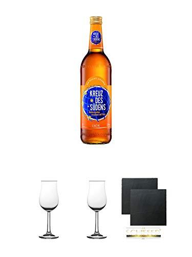 Kreuz des Südens Aprikosen Likör verfeinert mit Rum 0,7 Liter + 2 Bugatti Nosing Gläser mit Eichstrich 2cl und 4cl + 2 Schiefer Glasuntersetzer eckig ca. 9,5 cm Ø - Aprikosen-likör