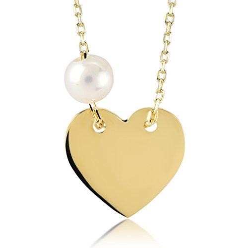 Damen-Halskette 14 Karat / 585 Gelbgold Herz mit Perle Halskette und Brillanten Anhänger | Gold Heart Necklace with chain | Kettenlänge 45cm