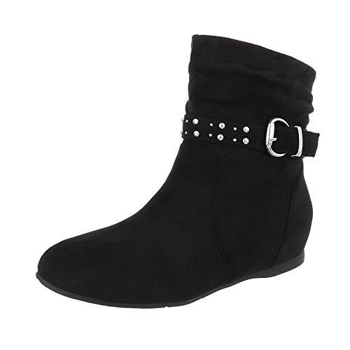 Ital-Design Keilstiefeletten Damen-Schuhe Keilstiefeletten Keilabsatz/Wedge Keilabsatz Reißverschluss Stiefeletten Schwarz, Gr 37, Pe103P-