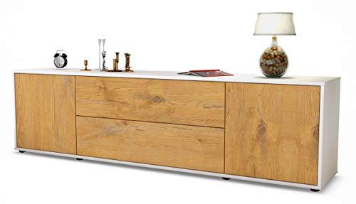Stil.Zeit TV Schrank Lowboard Aquilina, Korpus in Weiss Matt/Front im Holz-Design Eiche (180x49x35cm), mit Push-to-Open Technik und Hochwertigen Leichtlaufschienen, Made in Germany -