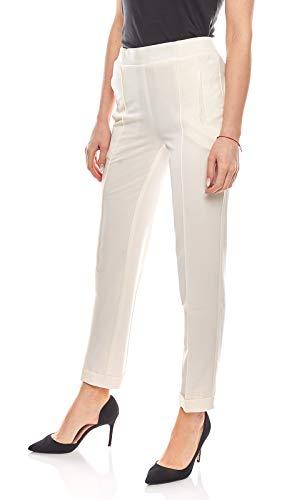 Aniston lockere Hose Damen Bügelfalten-Hose Regular Fit Creme, Größenauswahl:44