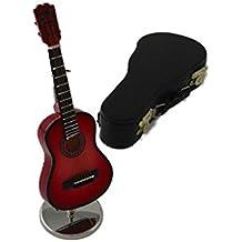 Ciaf, 2503-4667, Guitarra española decorativa roja. Miniatura en madera. Con estuche y soporte. 16x5x4 cms