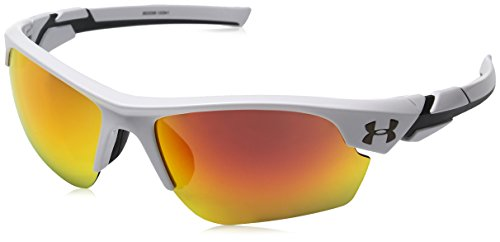 Under Armour UA Windup Wrap Sunglasses, UA Windup Shiny White / Charcoal Frame / Gray Orange Multiflection Lens, 58 mm