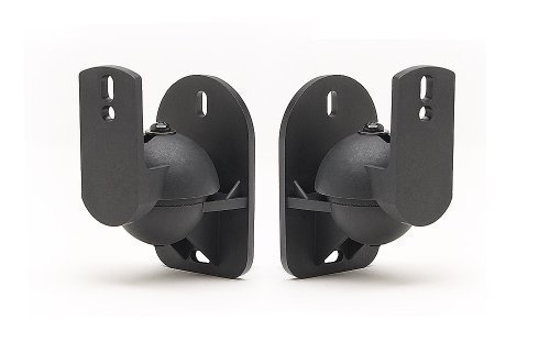 TechSol 1 Paar (2 Stück) Schwarze Universal-Wandhalterungen für Lautsprecher