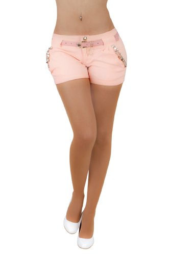 Fashion4Young 5847 Damen Sexy Stretch-Stoff Hotpants Short Kurze Hose verfügbar in 5 Gr. 4 Farben (L = 40, Apricot)