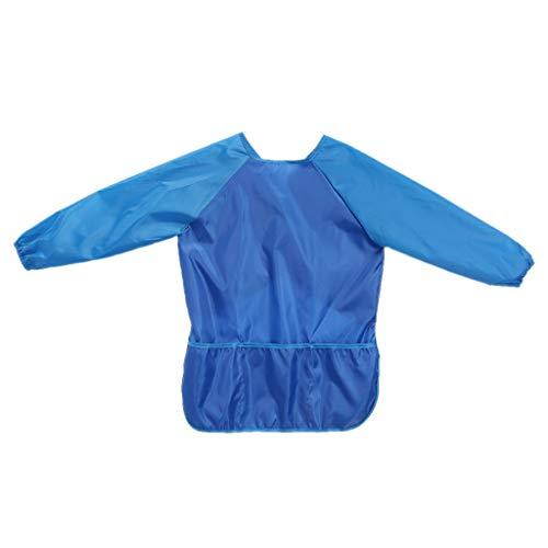 ZOOMY Wasserdichte Kinder Langarm Schürze mit Taschen Kunsthandwerk Zeichnung Malerei Snacks Smock Kinder Geschenk - Blau