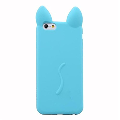 NightKid Chats et chatons mignons d'oreille silicone souple coque (iPhone 5C iPhone 6S iPhone 6 iPhone 5/5S iPhone 4/4S )(iPhone 5/5S,Vert) Bleu