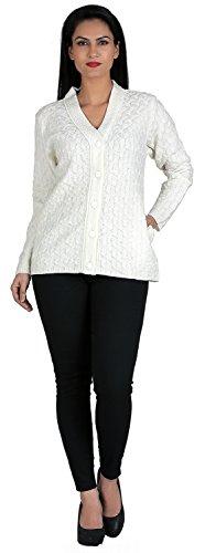 aarbee Women's Cardigan (White, Medium)
