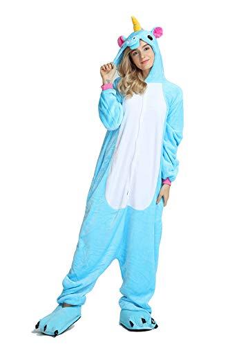 Lovelysi Damen Herren Mädchen Einhorn Pyjama Cosplay 3D Tier Body Nachtwäsche Kleid Overall Animal Cartoon Sleepwear Erwachsene ()